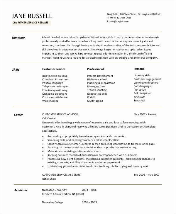 Entry Level Customer Service Resume Best Of 11 Customer Service Resume Templates Pdf Doc