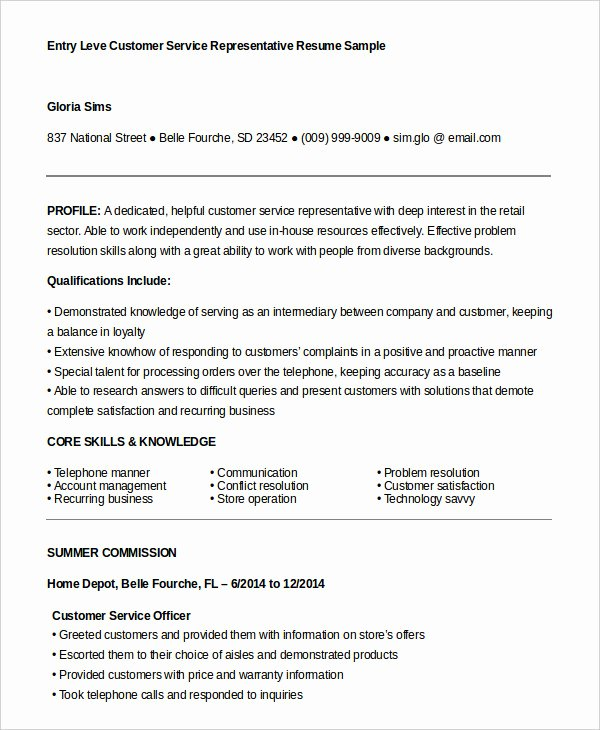 Entry Level Customer Service Resume Inspirational Customer Service Representative Resume 9 Free Sample
