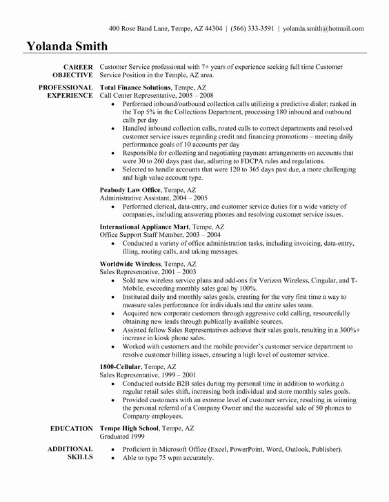 Entry Level Customer Service Resume Inspirational Traffic Customer Resume Examples Customer Service Resume