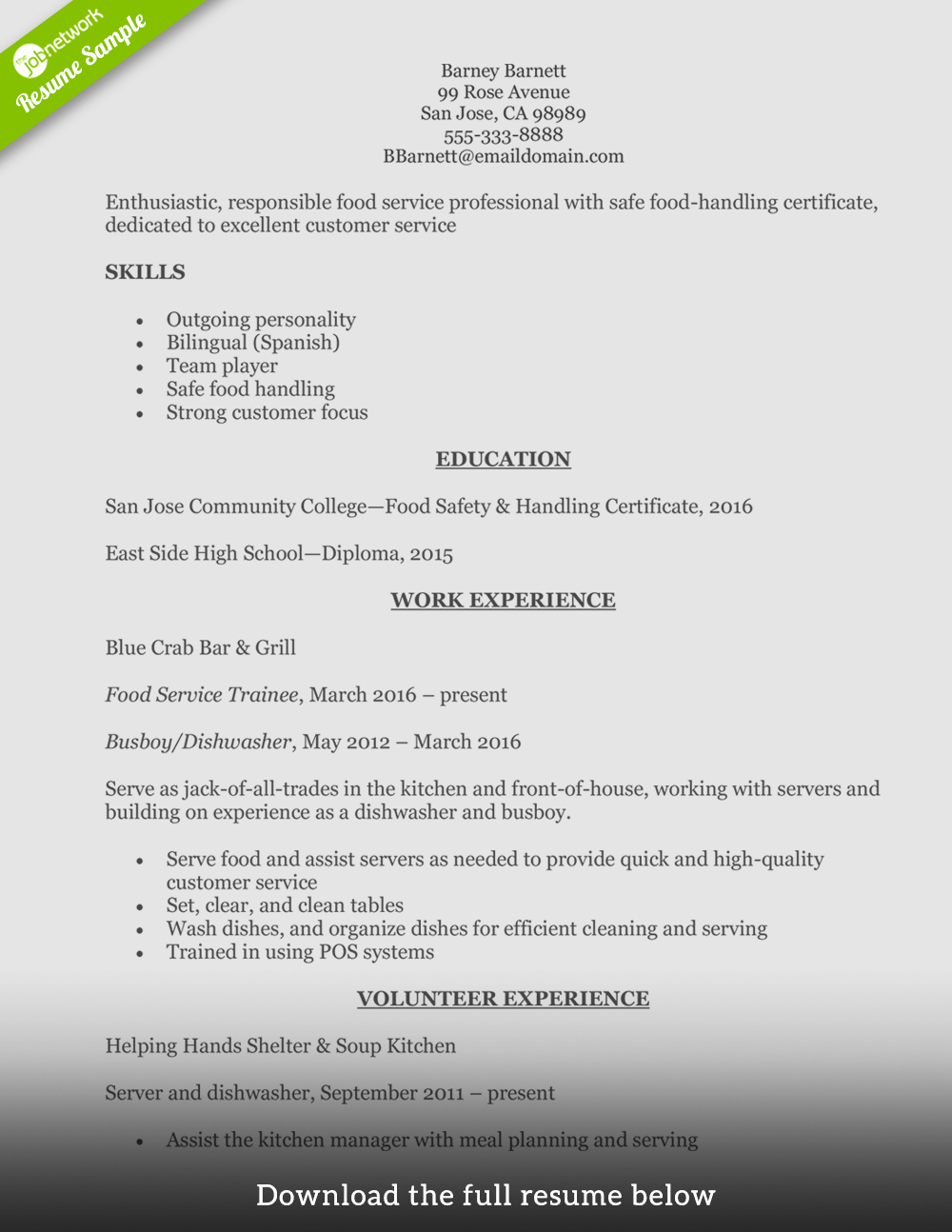 Entry Level Customer Service Resume Lovely How to Write A Perfect Food Service Resume Examples Included