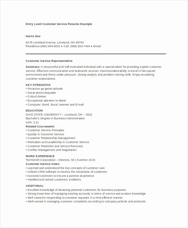 Entry Level Customer Service Resume Luxury 10 Customer Service Resume Templates Pdf Doc
