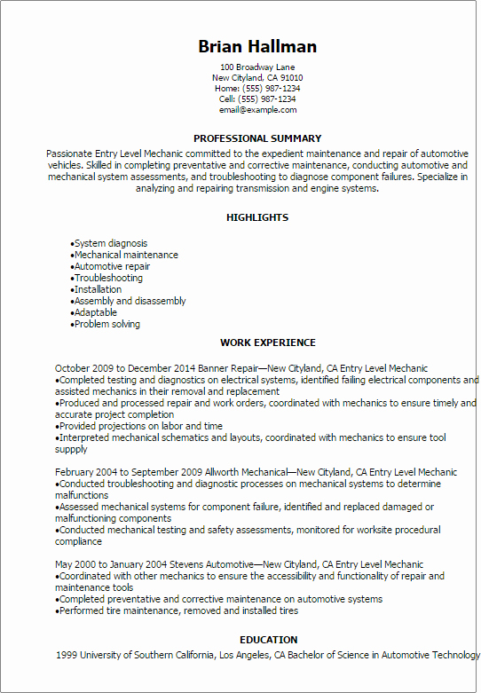 Entry Level Customer Service Resume Unique Automotive Resume Templates to Impress Any Employer