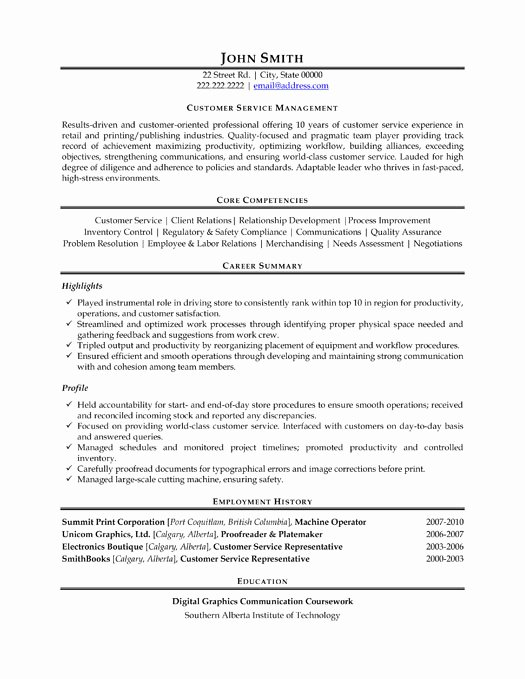 Entry Level Customer Service Resume Unique top Management Resume Templates & Samples