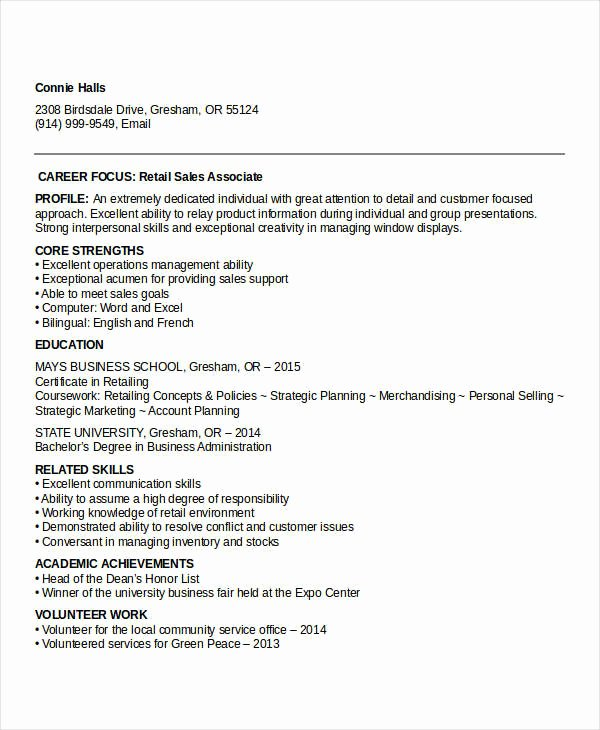 Entry Level Sales Resume Fresh 10 Sample Retail Sales Resume Templates Pdf Doc