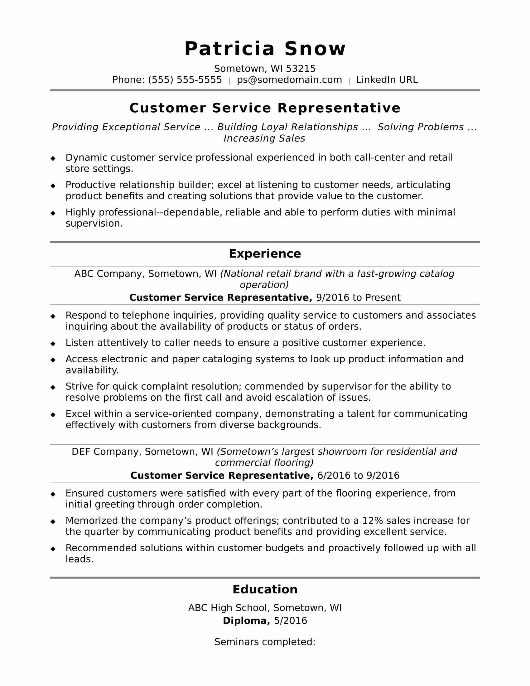 Entry Level Sales Resume Fresh Customer Service Representative Resume Sample