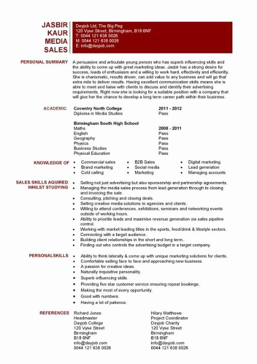 Entry Level Sales Resume Fresh Student Entry Level Media Sales Resume Template