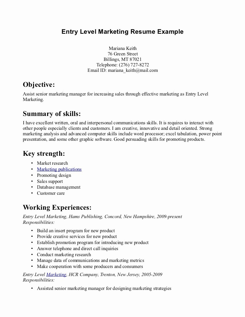 Entry Level Sales Resume Inspirational Entry Level Marketing Resume