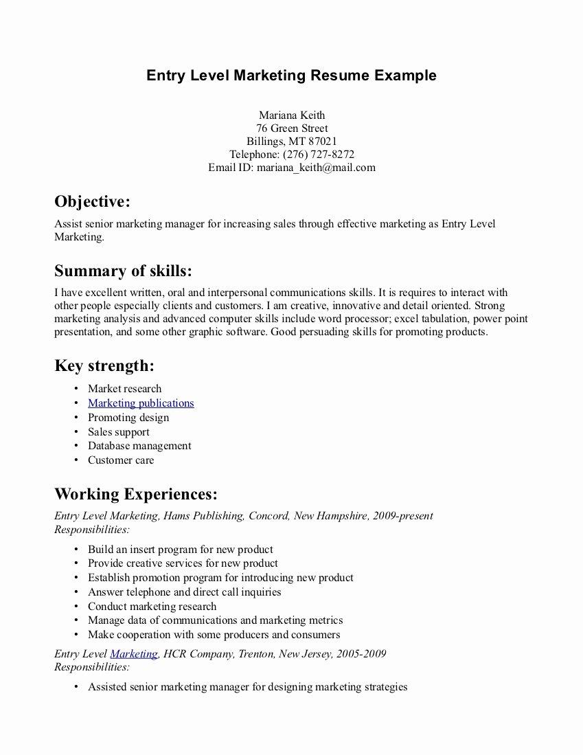 Entry Level Sales Resume Inspirational Entry Level Marketing Resume