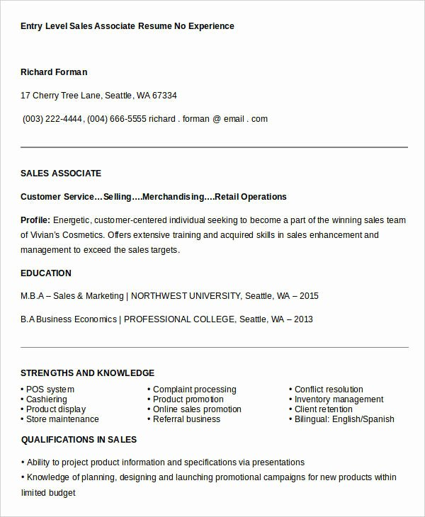Entry Level Sales Resume Lovely Sales Resume Template 24 Free Word Pdf Documents
