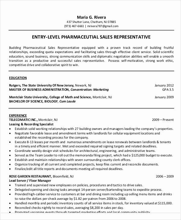 Entry Level Sales Resume New 18 Sales Resume Templates In Pdf