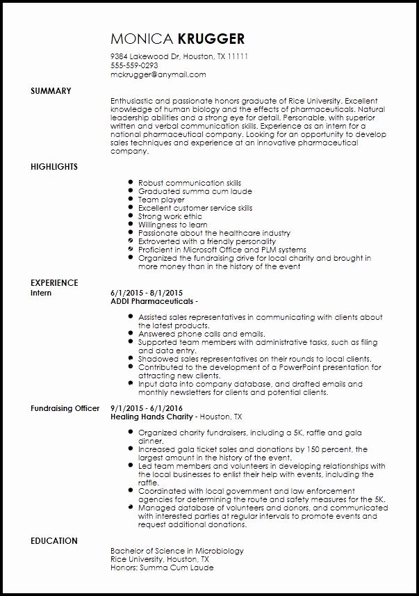 Entry Level Sales Resume Unique Free Entry Level Medical Sales Representative Resume