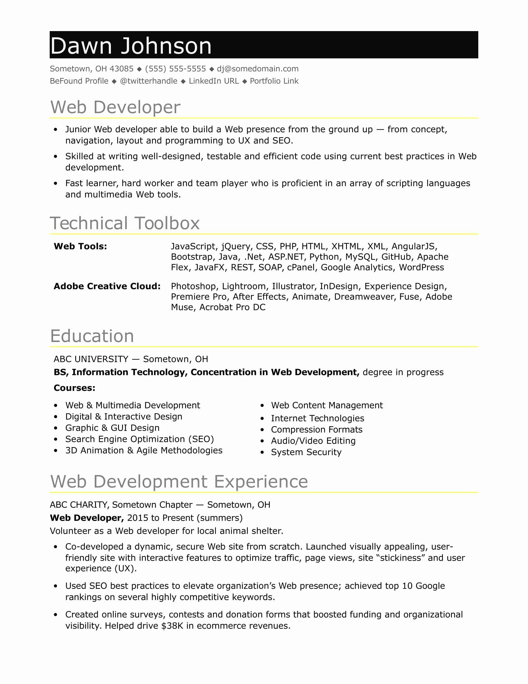Entry Level Web Developer Resume Awesome Sample Resume for An Entry Level It Developer
