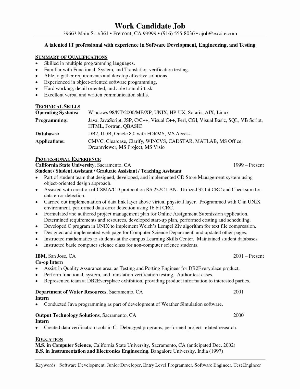 Entry Level Web Developer Resume Best Of Junior software Developer Resume
