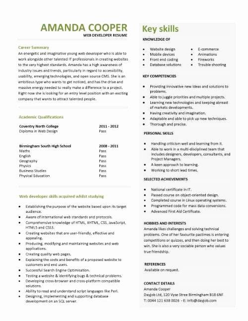 Entry Level Web Developer Resume Fresh Student Entry Level Web Developer Resume Template