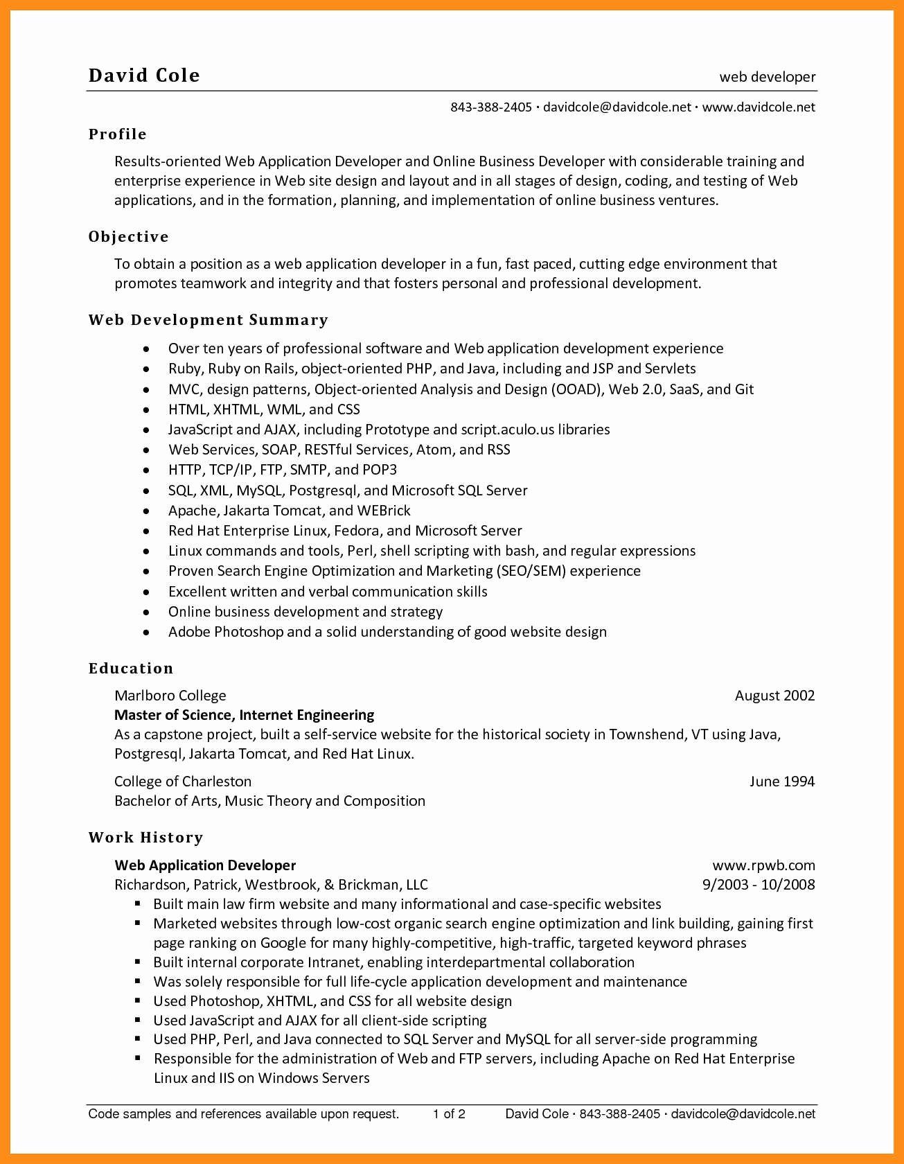 Entry Level Web Developer Resume New 9 10 Entry Level Net Developer Resume