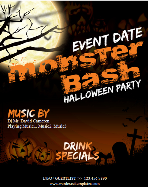Event Flyer Template Word New Ms Word Halloween Party Flyer Templates