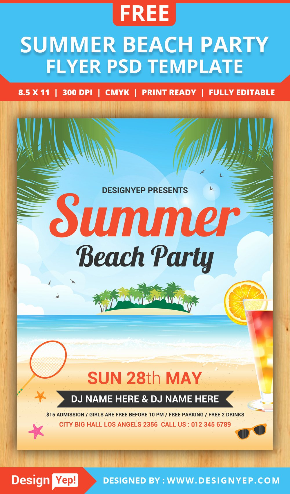 Event Flyer Templates Free Awesome Free Summer Beach Party Flyer Psd Template Designyep