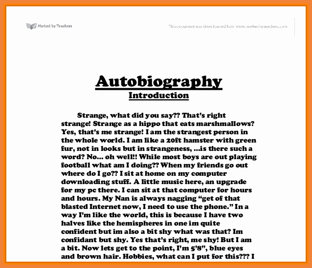 Example Of Autobiography About Yourself Awesome Cover Letter Mini Biography Sample Shavaunscott