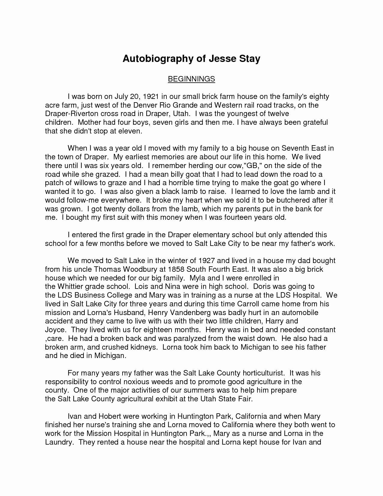 Example Of Autobiography About Yourself New Autobiography A Highschool Student Essay Filename