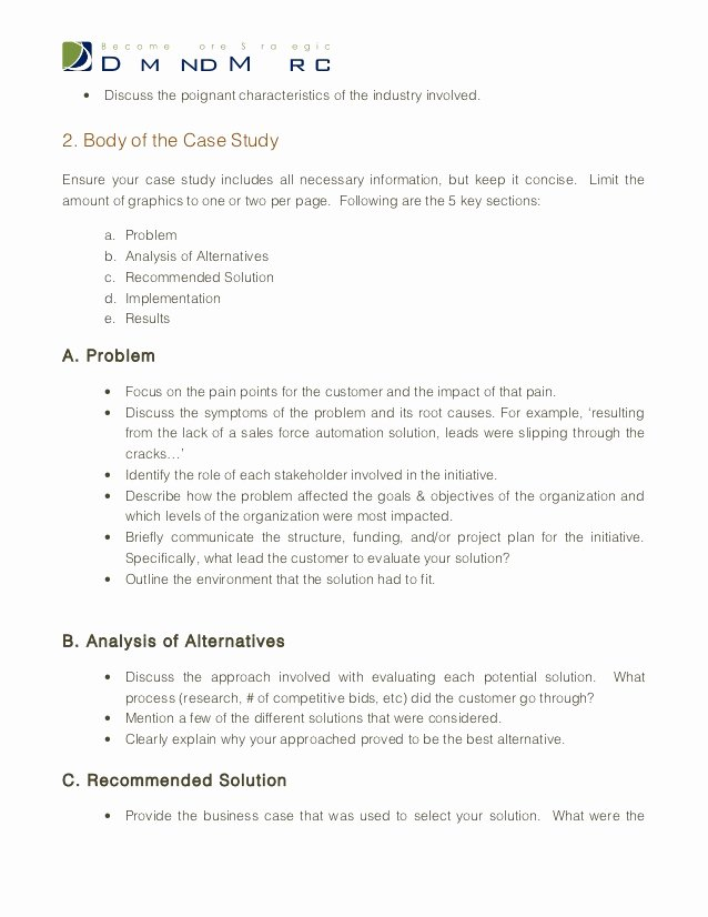 Examples Of Case Studies Unique Case Study Template