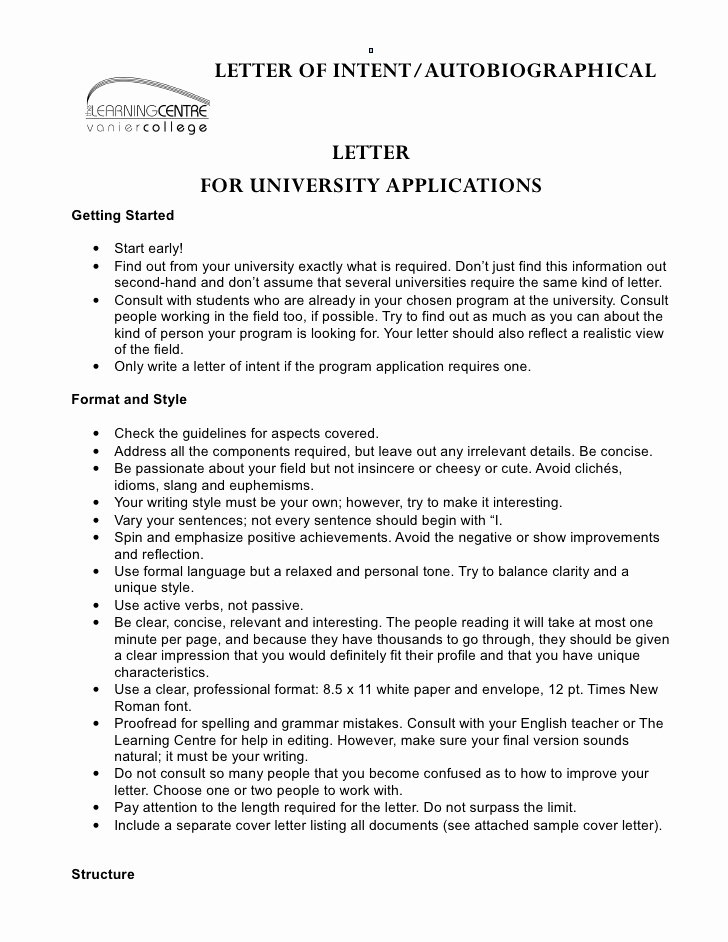 Examples Of Letter Of Intent Awesome Letter Of Intent Autobiographical Letter for University