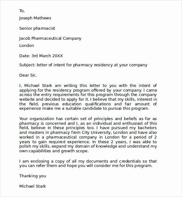 Examples Of Letter Of Intent Best Of Sample Pharmacy Residency Letter Of Intent 3 Documents