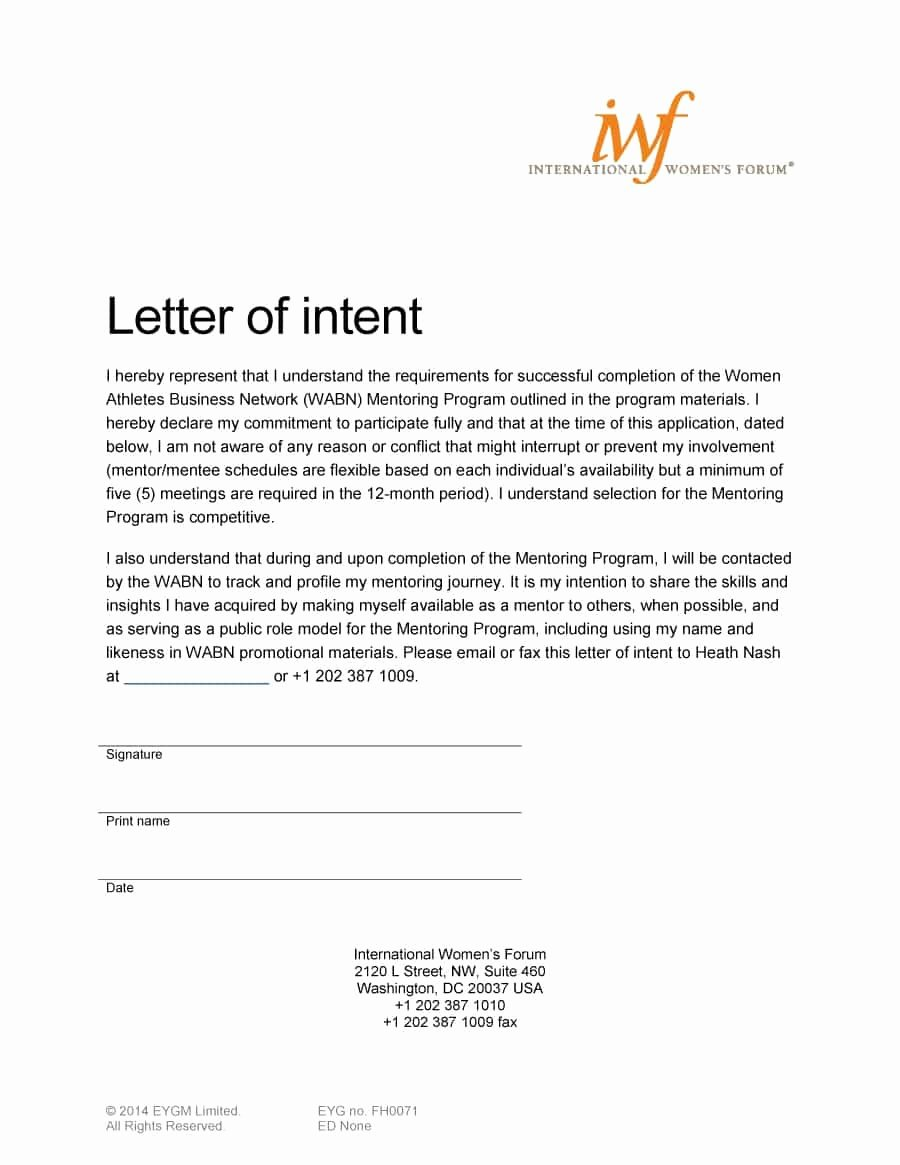 Examples Of Letter Of Intent Lovely 40 Letter Of Intent Templates & Samples [for Job School