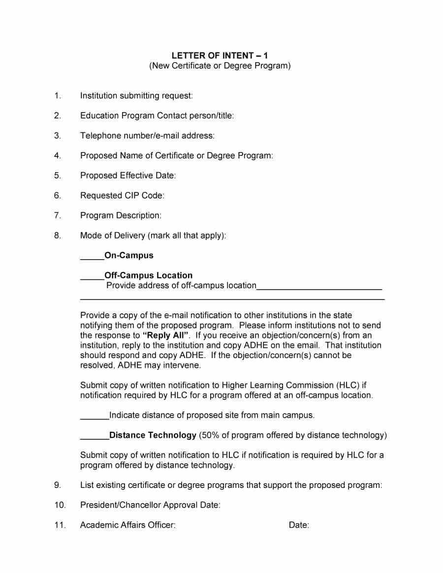 Examples Of Letter Of Intent Unique 40 Letter Of Intent Templates & Samples [for Job School