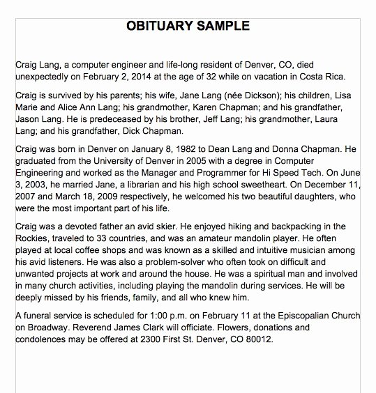 Examples Of Obituaries Well Written Luxury 25 Obituary Templates and Samples Template Lab