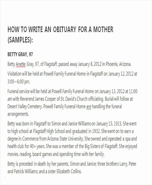 Examples Of Obituaries Well Written New How to Write An Obituary Samples