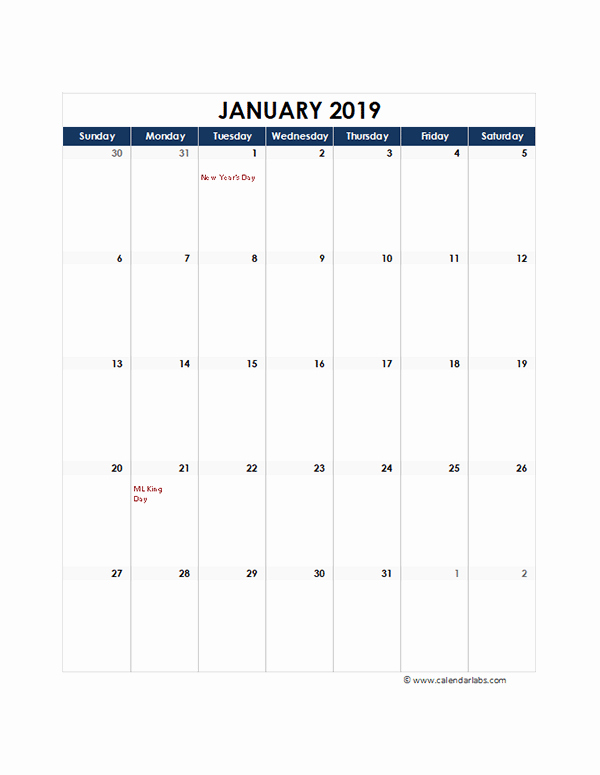 Excel Calendar 2019 Template Awesome 2019 Excel Monthly Calendar Template Free Printable