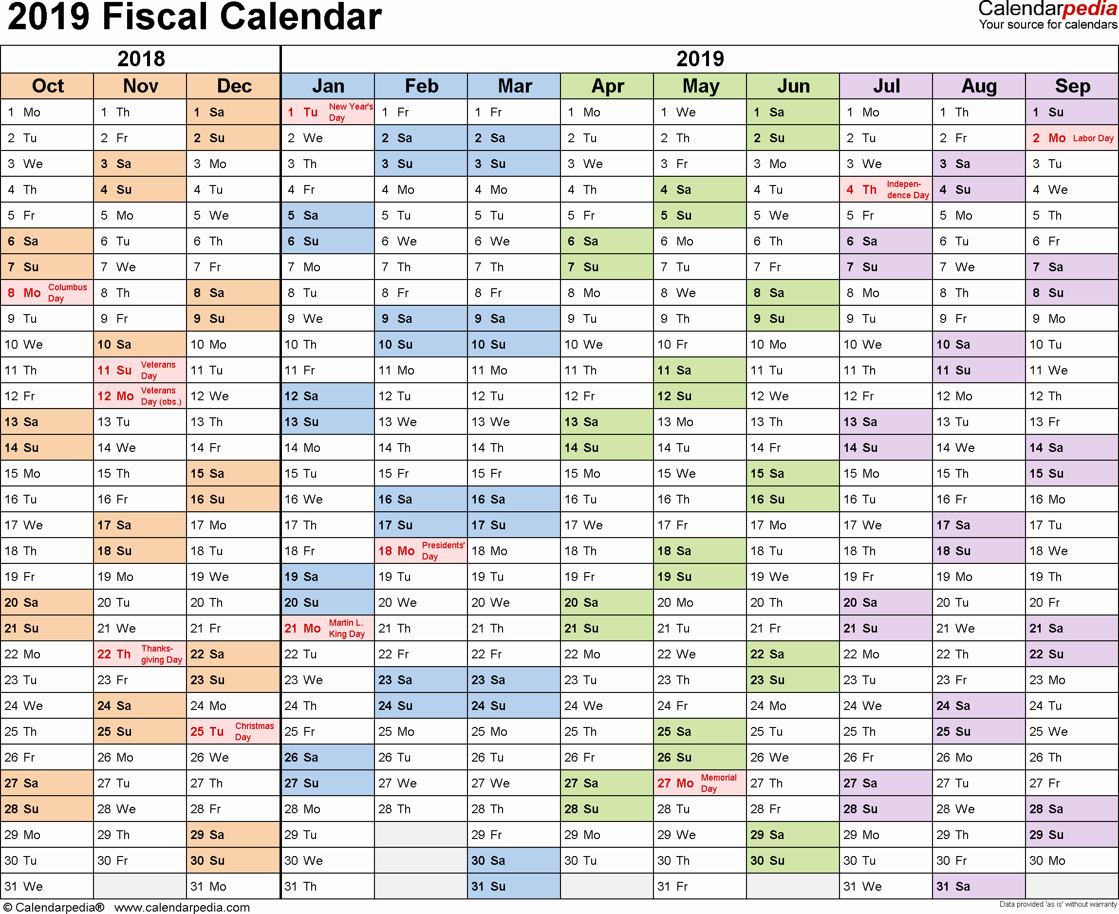 Excel Calendar 2019 Template Beautiful Fiscal Calendars 2019 Free Printable Excel Templates
