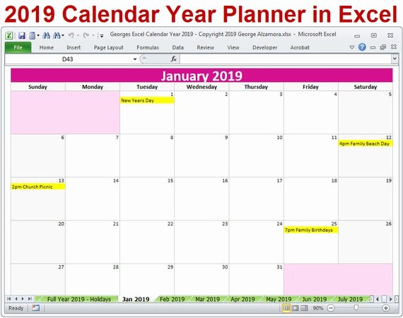 Excel Calendar 2019 Template Best Of 2019 Calendar Year Planner Excel Template 2019 Monthly