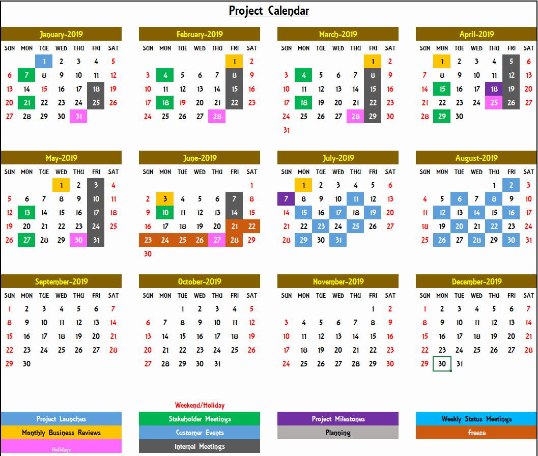 Excel Calendar 2019 Template Best Of Excel Calendar Template Excel Calendar 2019 2020 or Any