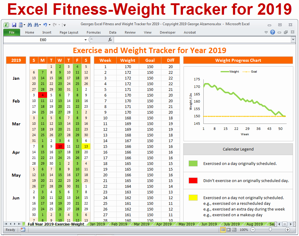 Excel Calendar 2019 Template Best Of Excel Fitness Weight Tracker for Year 2019 Spreadsheet