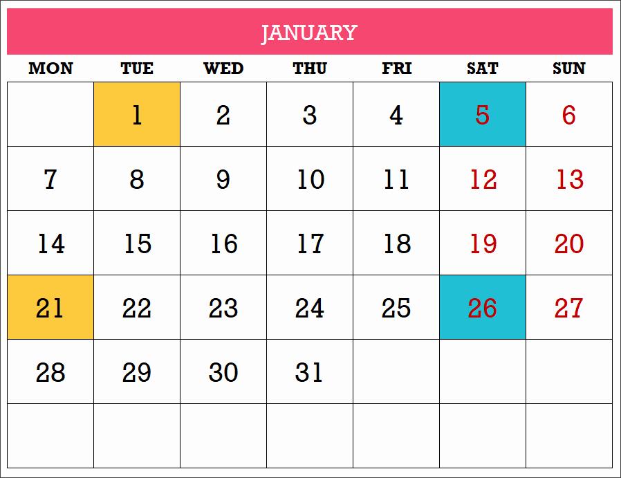 Excel Calendar 2019 Template Elegant 2019 Excel Calendar Template Free 19 Calendar Designs
