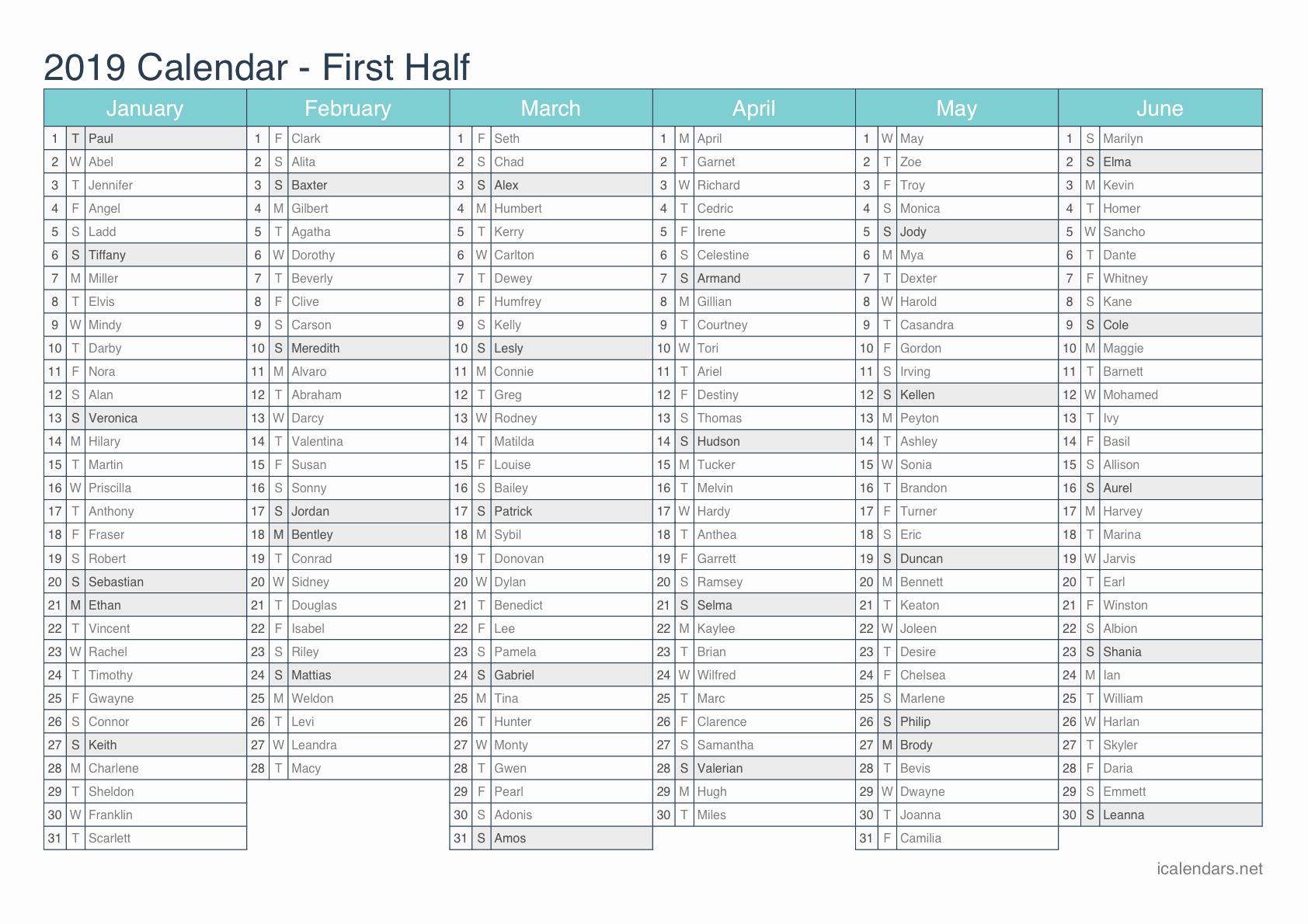 Excel Calendar 2019 Template Fresh 2019 Printable Calendar Pdf or Excel Icalendars