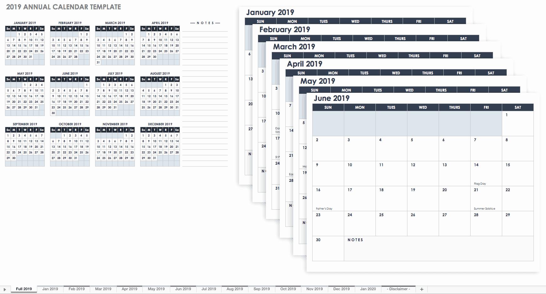 Excel Calendar 2019 Template Inspirational 15 Free Monthly Calendar Templates