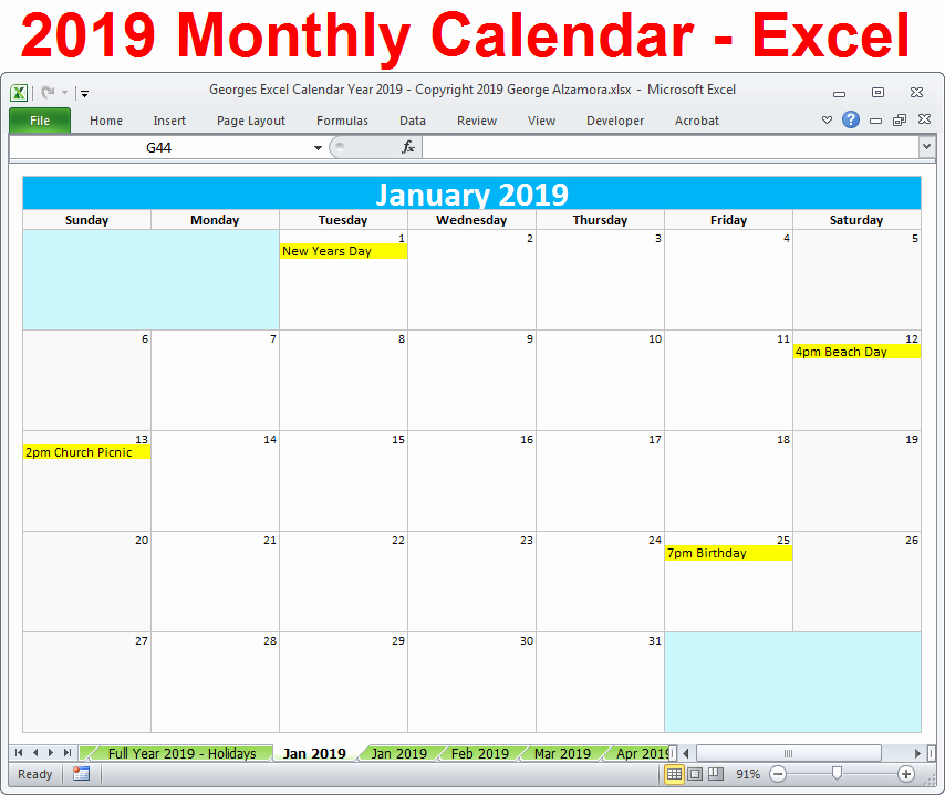 Excel Calendar 2019 Template Inspirational 2019 Calendar Printable Yearly Monthly Editable Excel