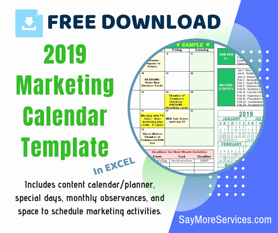 Excel Calendar 2019 Template New 2019 Marketing Calendar Template In Excel Free Download