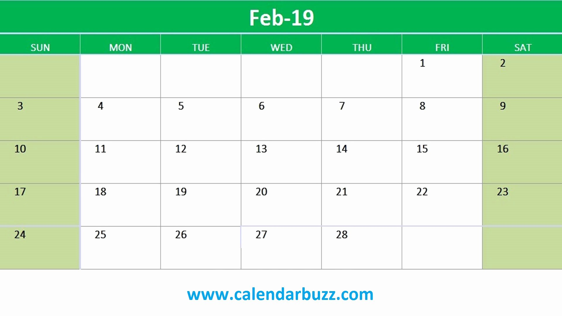 Excel Calendar 2019 Template New February 2019 Printable Calendar Templates Download