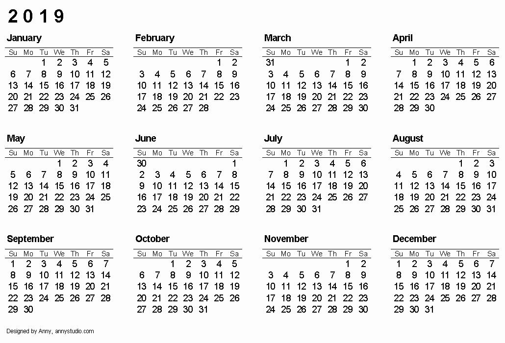 Excel Calendar 2019 Template Unique 2019 Calendar