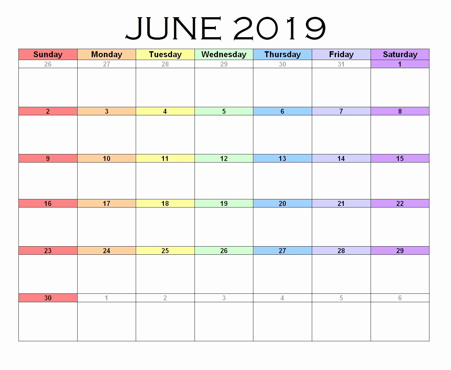 Excel Calendar 2019 Template Unique June 2019 Calendar Excel