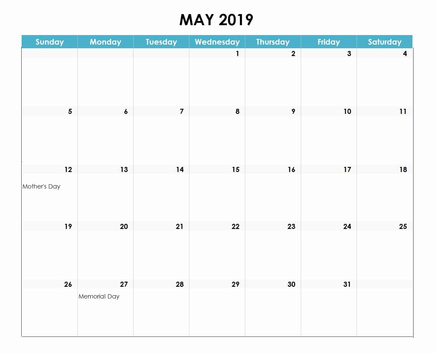 Excel Calendar 2019 Template Unique May 2019 Excel Calendar 2019 2019calendar
