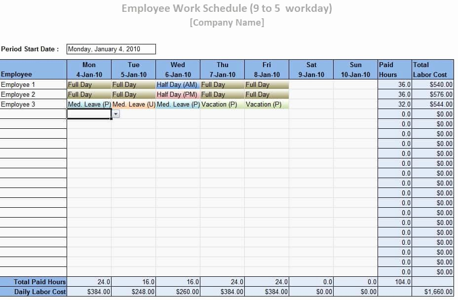 Excel Employee Schedule Template Best Of Employee Work Schedule Template Word Excel