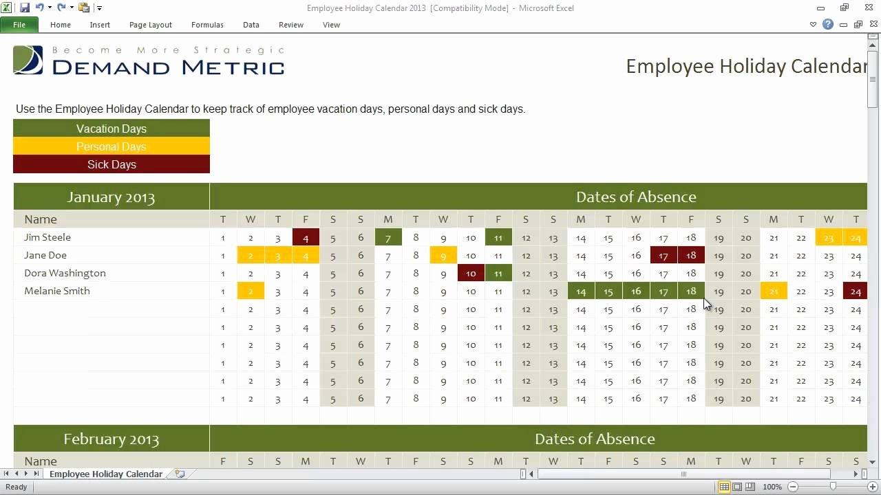 Excel Employee Schedule Template Elegant Employee Holiday Calendar Template 2013
