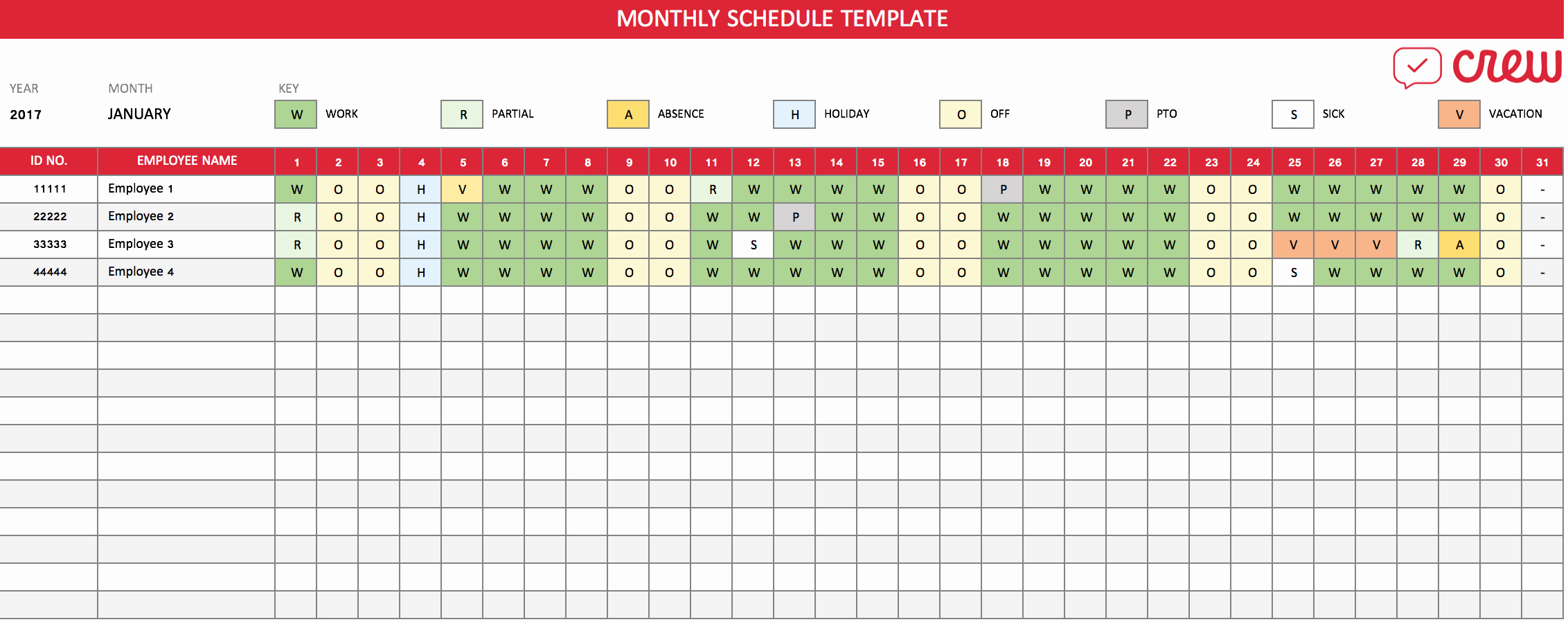 Excel Employee Schedule Template Fresh Free Monthly Work Schedule Template Crew
