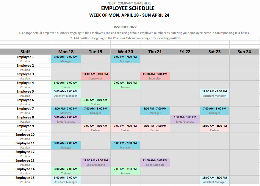 Excel Employee Schedule Template Fresh Weekly Employee Shift Schedule Template Excel