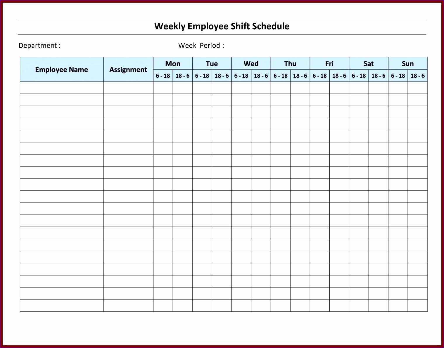 Excel Employee Schedule Template Lovely 7 Monthly Staff Schedule Template Excel Exceltemplates