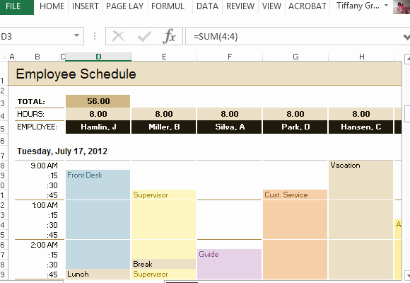 Excel Employee Schedule Template New Employee Schedule & Hourly Increment Template for Excel